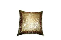 Marudhara Fashion Square Silk Home Decor Cushion Cover, Indian Silk Brocade Pillow Cover, Handma ...