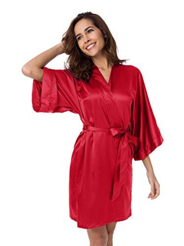 SIORO Satin Robe Silk Kimono Robe Bridesmaid Wedding Bath Robe Ladies Pajamas Short Bathrobe Lou ...