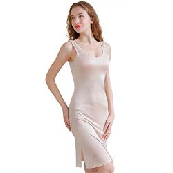 Zylioo 100% Mulberry Silk Cap Sleeve Full Slips Dresses Layering Tee Comfy Sexy Slim Fit Camisol ...