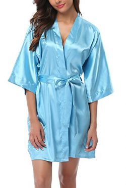 ABC-STAR Women Short Satin Kimono Robes for Wedding Bridal Party Bridesmaid Gift, Warm Blue, L