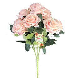 DALAMODA Blush 2 Bundles (with total 20 heads) Rose Flower Bouquet, for DIY any Decoration Artif ...