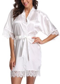 Laurel Snow Short Satin Kimono Robes Women Pure Color Bridemaids Bath Robe with Lace Trim,White S