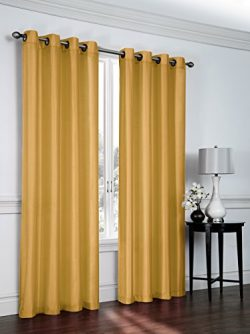Regal Home Collections 2 Pack Semi Sheer Faux Silk Grommet Curtains – Assorted Colors (Gold)