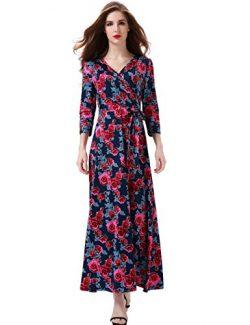 Melynnco Women's Floral Print 3/4 Sleeve Faux Wrap V Neck Maxi Dress Summer Large Navy