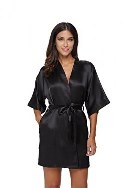 The Bund Women's Pure Colour Short Kimono Robes with Oblique V-Neck, Small, Black