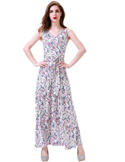 Aphratti Women's Bohemian Sleeveless V Neck Faux Wrap Long Maxi Dress Large Apricot Floral