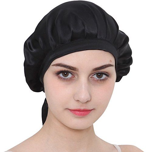 ONLYFY Mulberry Silk Sleep Night Cap Adjustable Ties For Curly Springy Hair (Black)