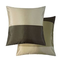 2 X BROWN CREAM BEIGE STRIPE STRIPED FAUX SILK THROW PILLOW SCATTER CUSHION COVERS TO MATCH DRAP ...
