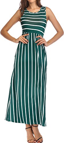 KAY SINN Maxi Dresses for Women Summer Casual Sleeveless Striped with Pockets Large Green