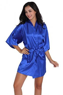 Admireme Women's Kimono Robes Satin Nightdress Pure Colour Short Style with Oblique V-Neck ...