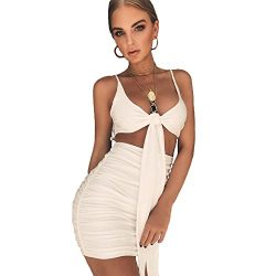LIXYIT Women's Sexy Bodycon V Neck Backless Pleated Strap Mini Party Club Short Dress