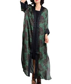 YESNO JEJ Women Long Loose Maxi Floral Blouse Dress Chinese Traditional Frog Side Split 3/4 Slee ...