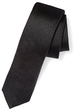 Buttoned Down Men's Classic Silk 2″ Skinny Necktie, Black Texture, Regular