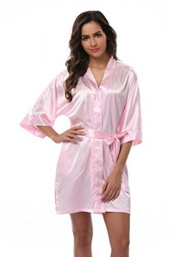 VogueBridal Women's Solid Color Short Kimono Robe, Pale Pink M