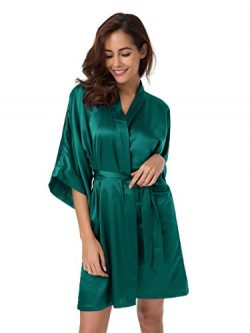 SIORO Women's Plus Size Robe Soft Satin Robe Wedding Nightgown Bridesmiad Bath Robe Sexy S ...