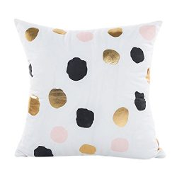 Napoo Hot Gold Foil Printing Square Pillow Case Sofa Waist Throw Cushion Cover Home Decor (B)
