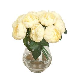 1Bouquet 6 Heads Artificial Peony Silk Flower,FUNIC Fake Flowers Home Wedding Party Decor (Yellow)