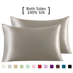 YANIBEST 19 Mome 2 Pack 100% Mulberry Silk Pillow Cases for hair and Skin (Standard, Apricot)