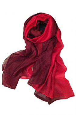 Unilove Summer Silk Scarf Gradient Color Long Lightweight Sunscreen Shawls for Women (Red)