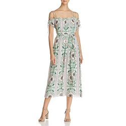 Tory Burch Womens Asilomar Silk Floral Print Casual Dress