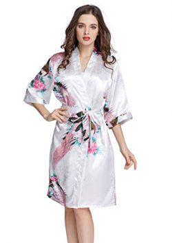 J.ROBE Women's Printing Lotus Kimono Robe Short Sleeve Silk Bridal Robe White M