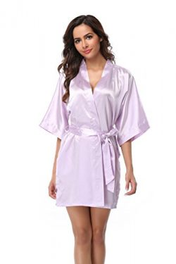 Vogue Bridal VogueBridal Women's Solid Color Short Kimono Robe, Purple M