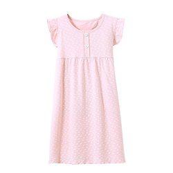 BOOPH Girls' Princess Nightgown, Cotton Baby Toddler Girl Heart Shape Dots Sleepwear Short ...