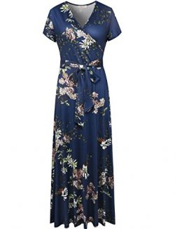Melynnco Women's Vintage Floral Faux Wrap V Neck Short Sleeve Maxi Dress Large Navy