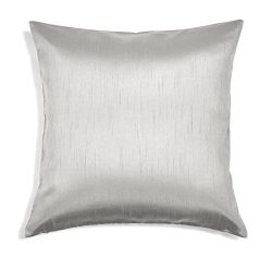 Aiking Home Solid Faux Silk Decorative Pillow Cover, Zipper Closure, 20 by 20 Inches, Silver