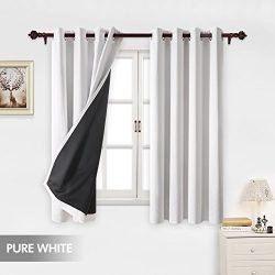 Deconovo Total Blackout White Curtains Grommet Thermal Insulated Room Darkening Faux Silk Satin  ...