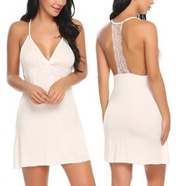 ADOME Sleepwear Women V Neck Chemise Nightgown Lace Lingerie Full Slip Dress (S, White 3)
