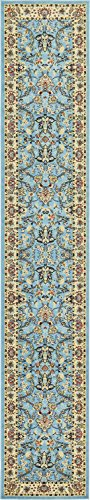 Unique Loom 3123485 Area Rug, 3′ x 16′ 5 Runner, Light Blue