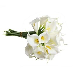 Supla Real Touch Calla Lily Artificial Silk Flower Bundle Fake Calla Lily in White with Yellow S ...