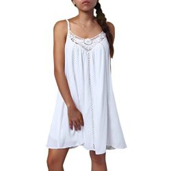 WILLTOO Sleeveless Mini Dress,Summer V-Neck Sexy Lace Stitching Maxi Dress Loose Beach Dresses ( ...