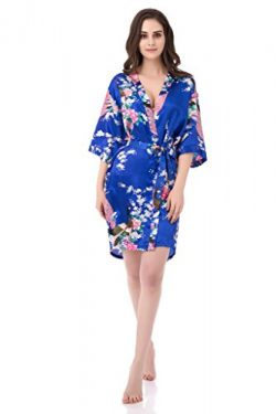 gusuqing Women's Printing Peacock Kimono Robe Short Sleeve Silk Bridal Robe Royal L