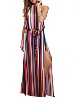 Blooming Jelly Women's Halter Backless Tie Back Drawstring Waist Tie Dye Split Summer Maxi ...