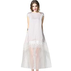 DIFANER Women's Round Collar Lace Lacy Dress Loose Short Sleeves Frock for Wedding and Par ...