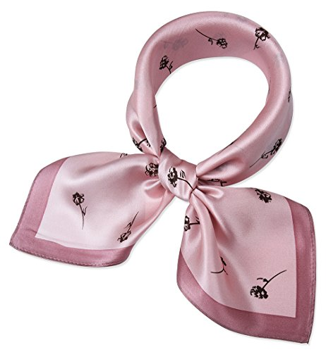 corciova Women 100% Mulberry Silk Neck Scarf Small Square Scarves Neckerchiefs Piggy Pink Leafle ...