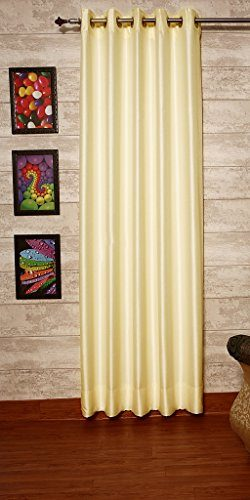 Ivory Dupioni Faux Silk Drapes 51″ (130cm) Wide x 96″ (8ft) Long, Eyelet Top With Th ...