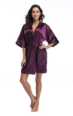 Luvrobes Women's Satin Kimono Robe, Solid Color, Short (M, Plum)