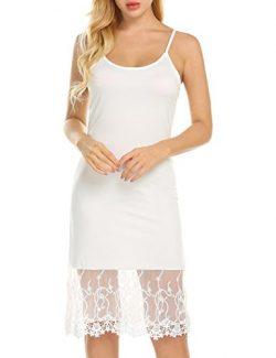 Zeagoo Women's Lace Trim Chiffon Ruffle Camisole Slip Top/Tank Dress Extender, 2-white, Medium