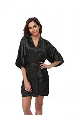 Vogue Bridal Women's Solid Color Short Kimono Robe, Black XL