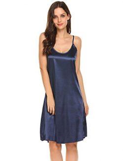 Goodfans Women's Sexy V Neck Spaghetti Strap Silk Slip Dress