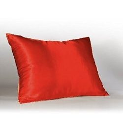 Satin silk pillowcases 100% Polyester for hair and facial care 1pc (Color30) Carrot Red by Meaga ...