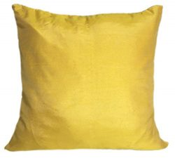 Set of 2 Canary Yellow Art Silk Pillow Covers, Plain Silk Cushion Cover, Solid Color Canary Yell ...