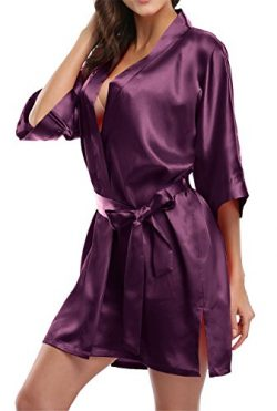 Giova Pure Color Satin Short Silky Bathrobe Sleepwear Nightgown Pajama,Deep Purple,Medium