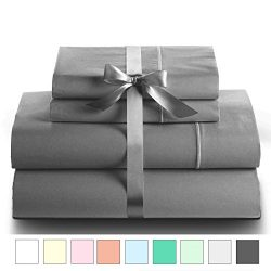 LINENWALAS 100% Cotton Sateen Sheets – 800 Thread Count Deep Pocket Bed Sheet Set Silk Lik ...
