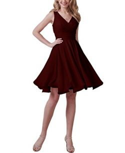 Homecy Chiffon Bridesmaid Dresses Short V-Neck Backless Pleated Wedding Party Dresses Burgundy S ...