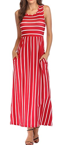KAY SINN Maxi Dresses for Women Summer Casual Sleeveless Striped with Pockets Small Red
