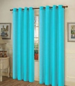 Turquoise Blue Grommet Style In 108″ Lenth 1 Pc Solid Grommet Faux Silk Window Curtain Dra ...